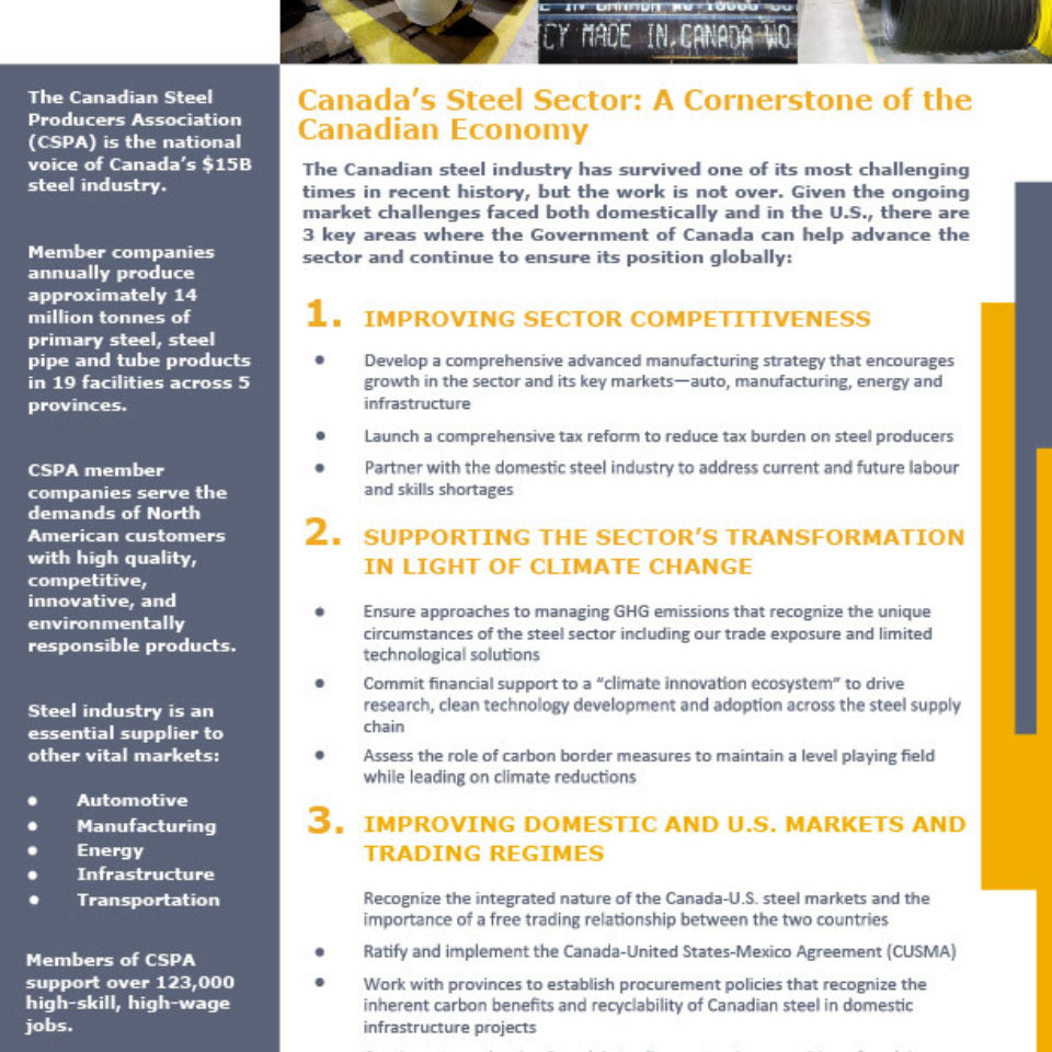 CSPA Federal Election—One-Pager