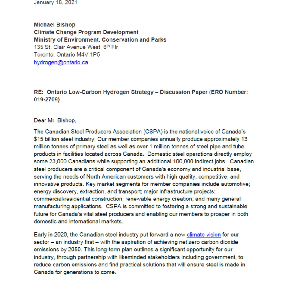 Ontario Hydrogen Strategy Discussion Paper